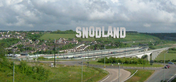 Artist's impression of giant SNODLAND sign