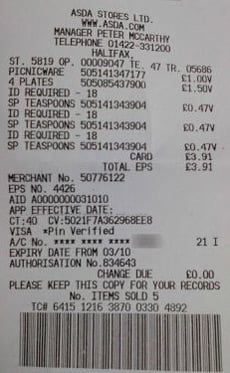 ASDA receipt for teaspoons showing ID required