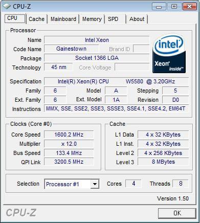 Intel Xeon W5580 - CPU-Z