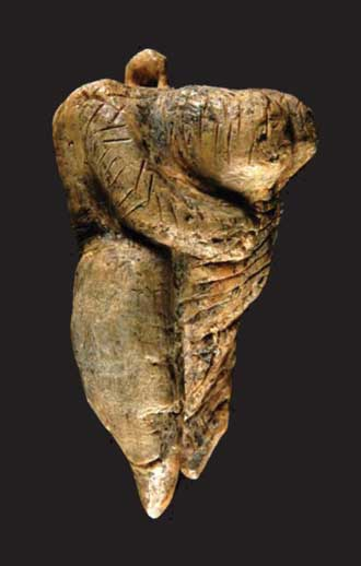 Prehistoric Hohle Fels statuette depicting a large breasted lady