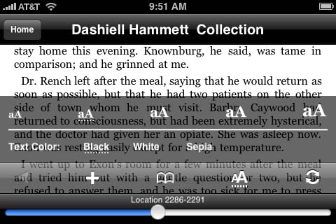 Kindle for iPhone 1.1 - options menu