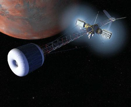 NASA concept of a nuclear-powered Mars ship with centrifuge crew accommodation