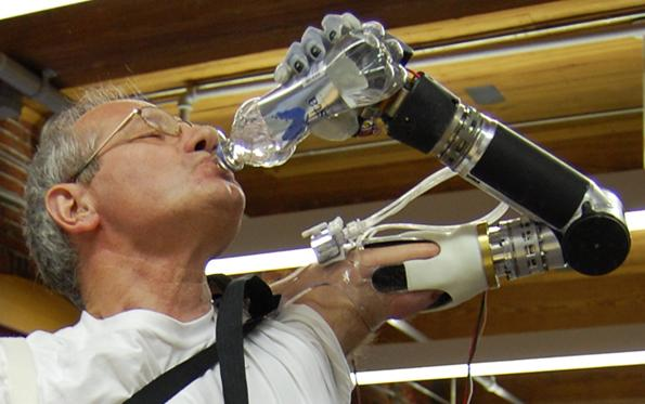 The DEKA prosthetic arm being trialled by the VA's Frederick Downs. Credit: DEKA