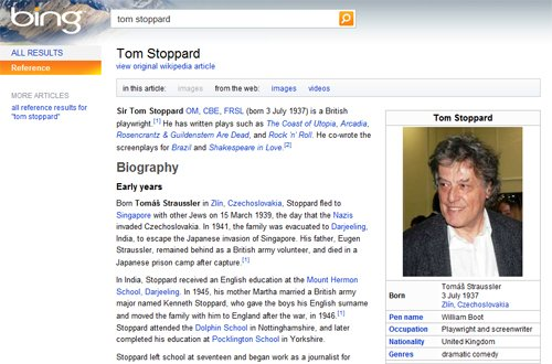 Bing and Wikipedia