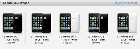 iPhone pricing on Apple's website