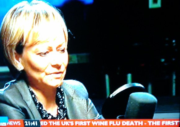 BBC's News 24 ticker tape reports UK's first wine flu death