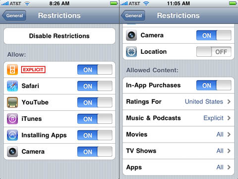 iPhone 2.2.1 and iPhone 3.0: restrictions comparison