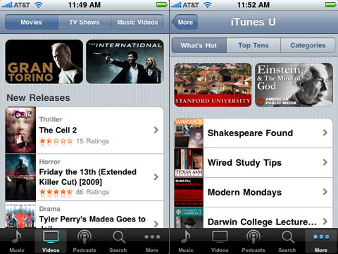 iPhone 3.0 video rental and purchase, plus free iTunes U