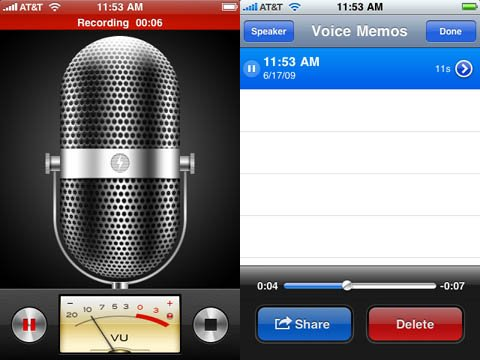 iPhone 3.0 Voice Memos