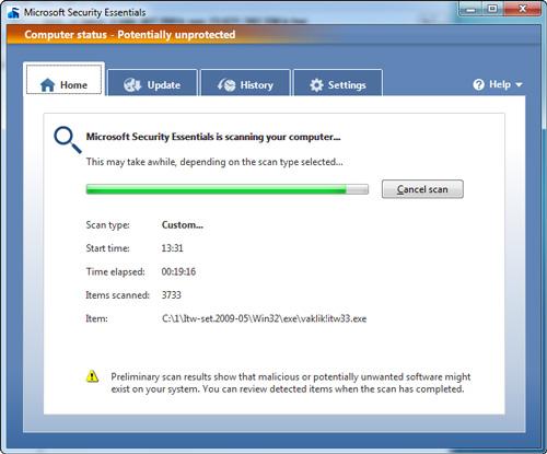 Morro scan on Windows 7 (courtesy AV-test.org)