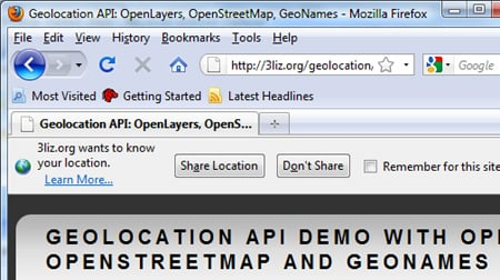 Geolocation in Firefox 3.5