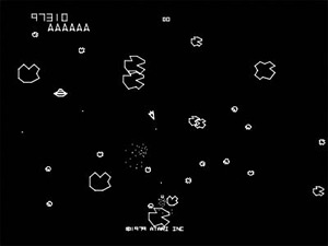 Screen grab of the original Asteroids