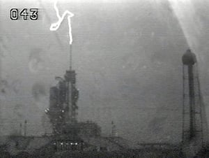Lightning strikes Endeavour launch area. Pic: NASA