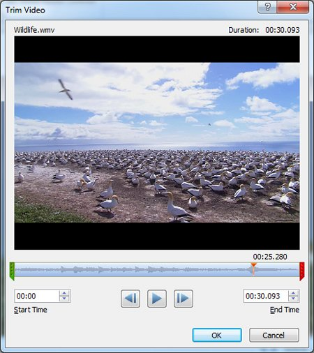 Trim video in PowerPoint 2010