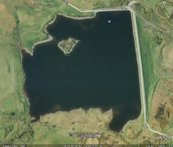 A reservoir next to Whinhill golf club, seen on Google Earth