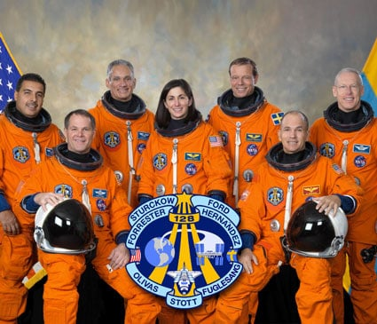 The STS-128 mission crew. Pic: NASA