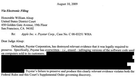 Apple's letter to US Court alleging Psystar document destruction