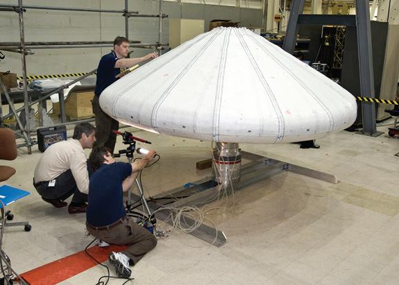The IRVE inflated during ground tests. Credit: NASA/Sean Smith