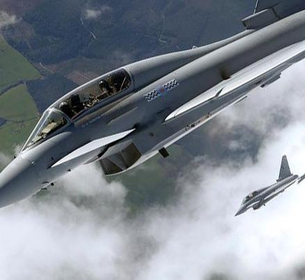 Eurofighter Typhoon trainer (two seat) in flight. Credit: MoD