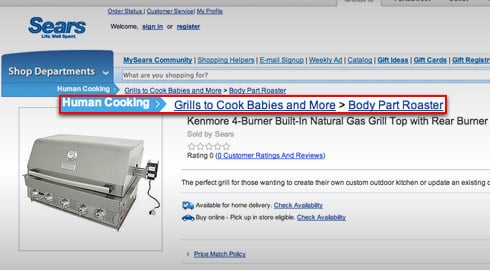 Screenshot of Sears.com page advertising baby roaster grill