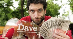 Comedian Dan Antopolski with his Dave award