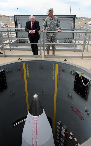 US Defence Secretary Robert Gates inspects a GBI in its Alaskan silo
