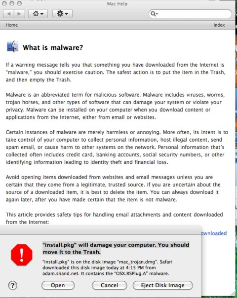 A screenshot of the Snow Leopard malware warning