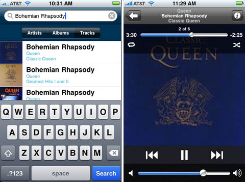 RealNetworks Rhapsody for the iPhone screenshots