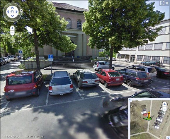 Cars parked in Helvetiaplatz, seen on Street View