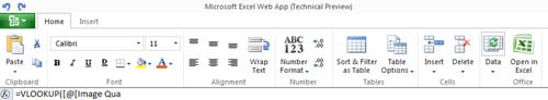 Excel toolbar for MS Office Web Apps preview