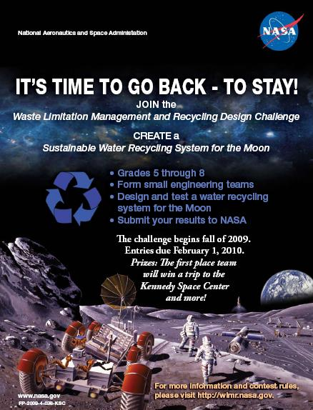 NASA's poster advertising the lunar water-conservation plans