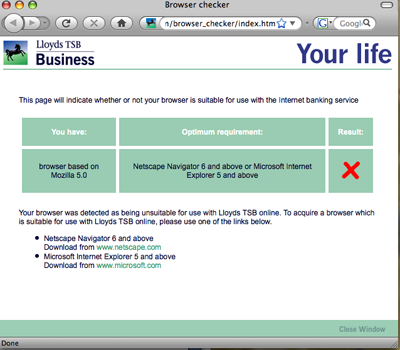 Lloyds TSB, not a Firefox lover