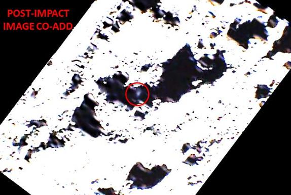 Three separate visual images from LCROSS SS overlaid onto one another show a faint debris plume from Centaur impact. Credit: NASA