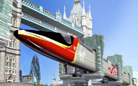 Artist's concept of the Tubular Rail system in use in London. Credit: Tubular Rail