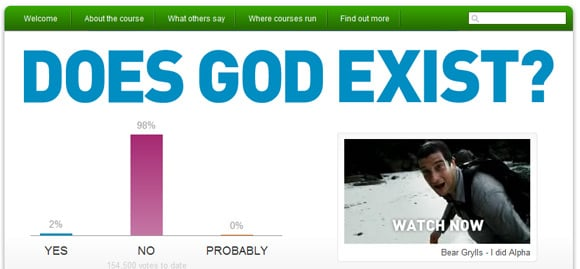 Screengrab of The Alpha Course poll results at time of publication