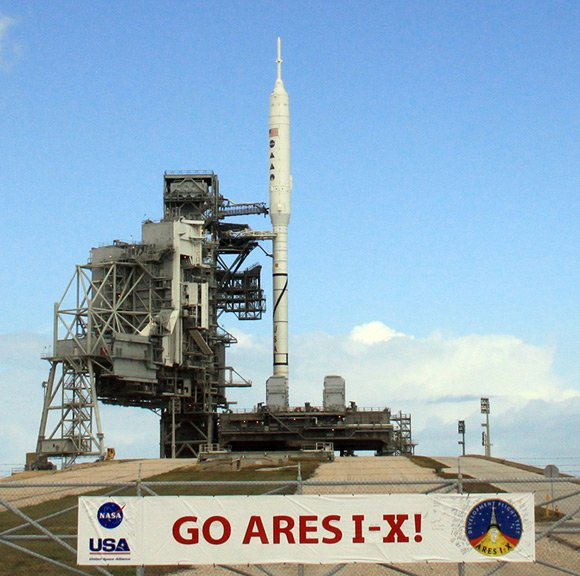 The Ares I-X on the launchpad. Pic: NASA