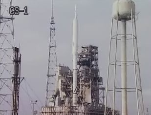 The Ares I-X on the launchpad earlier today. Pic: NASA TV