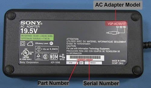 Defective Sony power adapter