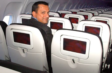 Ravi Simhambhatla onboard Virgin America, photo: Gavin Clarke