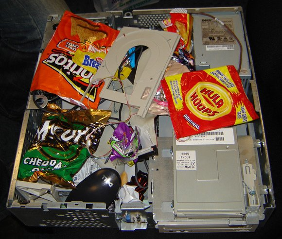 PC packed with empty crisp packets