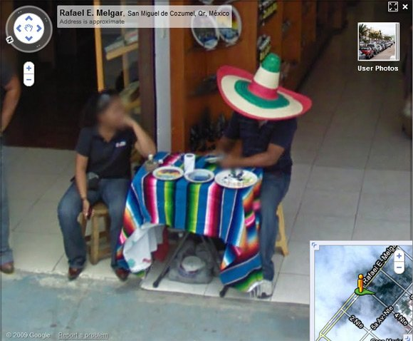 Comedy Mexican wearing improbably large hat