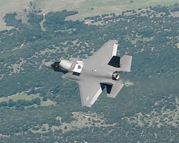 The F-35B in flight doors open from the top. Credit: JSF Program