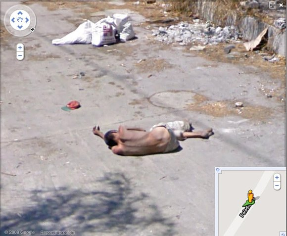 Mexican slumped in street in Monterrey