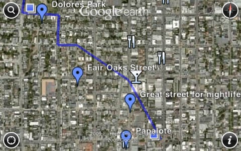 Custom Google map viewed in Google Earth 2.0 for iPhone