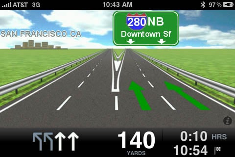 TomTom app for iPhone - lane choice