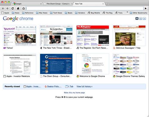 Google Chrome Tab Page
