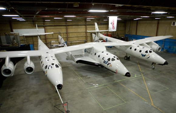 The SS2 and mothership in the hangar. Pic: Virgin Galactic