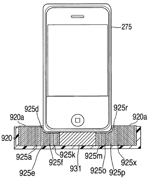 Illustration for Apple's 'Aesthetically pleasing universal dock' patent application