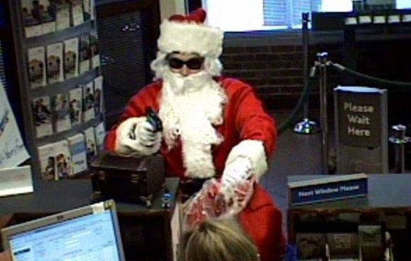 Surveillance image of Santa stick-up