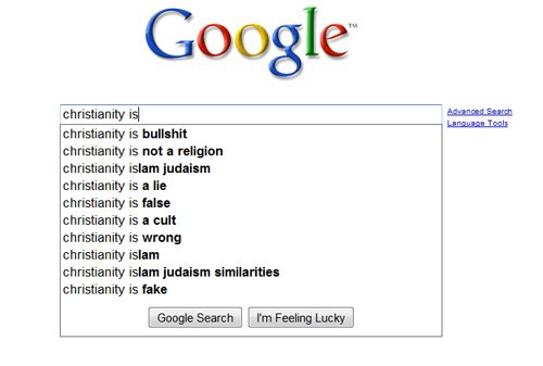 Google Christianity suggest